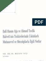 Enfi Hasan Ağa ve Ahmed Tevfik Halveti'nin Tezkirelerinde Üsküdarlı Mutasavvıf ve Meczuplarla İlgili Notlar - Mustafa Tatçı