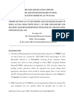 Adjudication Order in the matter of M/s Fraternity Electronics Limitedw