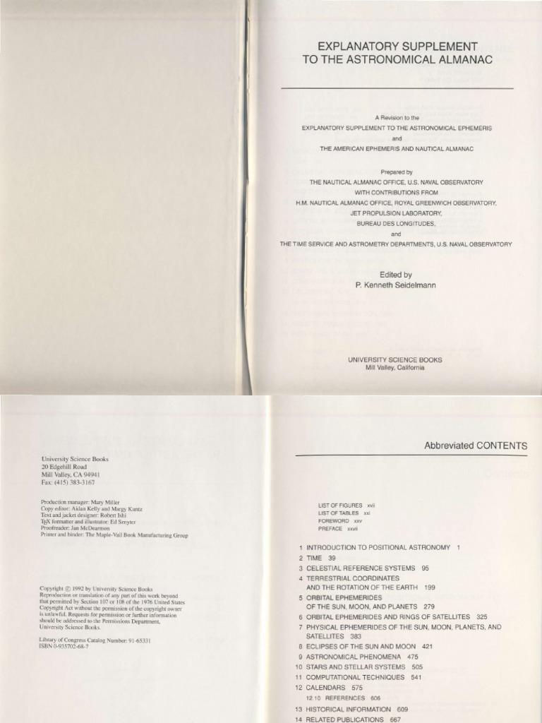 Explanatory Supplement Astronomical Almanac 1992 Celestial Mechanics
