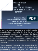 Seminar Report on Role and Duties of Company Secretary