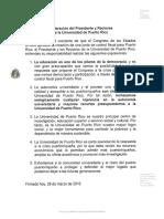 Declaracion Del Presidente y Rectores UPR