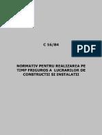 C 16-1984!16/1984-Normativ Pentru Realizarea Pe Timp Friguros a Lucrărilor de Construcţii Şi a Instalaţiilor Aferente