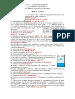 1ª Lista de Exercícios, Lista de exercicios de termodinamica aplicada a engenharia mecanica