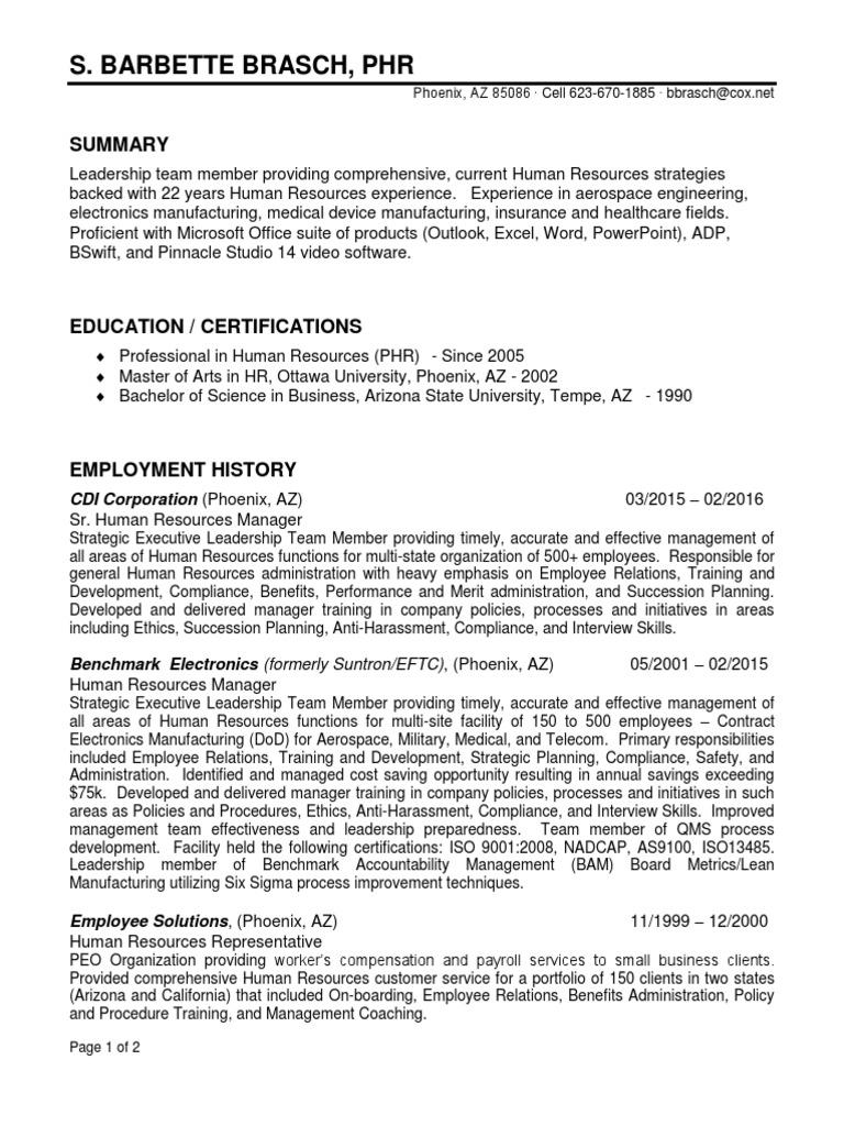 Human Resources Manager Director In Phoenix Az Resume Barbette