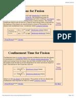 Lawson Criteria for Nuclear Fusion