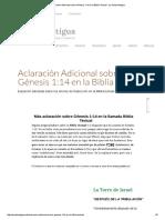 Aclaración Adicional Sobre Génesis 1_14 en La Biblia Textual - La Senda Antigua