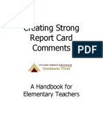creating strong report card comments - a handbook for elementary teachers