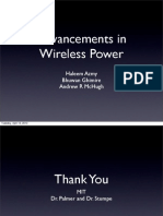Advancements in Wireless Power (Energy Transfer)