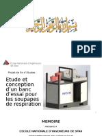 Etude et conception d'un banc d'essai pour les soupapes de respiration