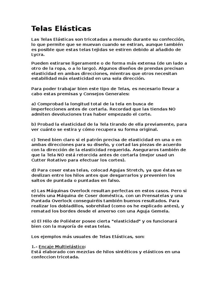 Telas Elásticas, manual y tutorial