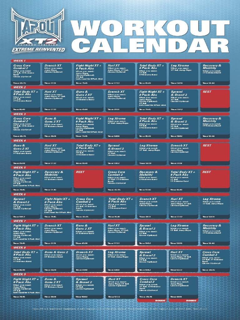 Workout Calendar Pdf : Tapout xt workout times eoua