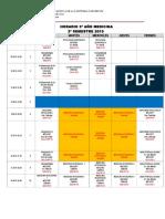 Horario Tercero Medicina Plan Nuevo, 2º Semestre 2015