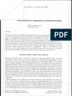 Preconditions for Explanation in Social Psychology