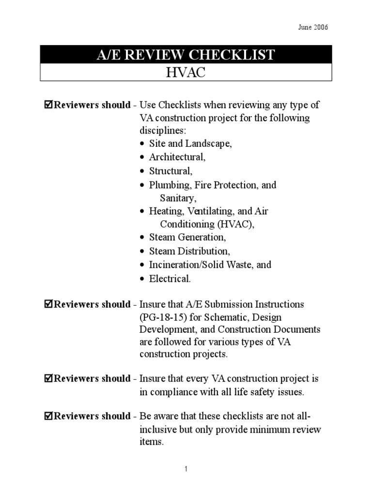 hvac checklist   Hvac   Duct (Flow)   Hvac Drawing Review Checklist      Scribd