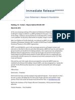 American Fishermen's Research Foundation press release
