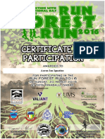 Run Forest Run 2016 Certificate