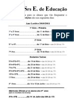 Aviso Inscrições 2010-2011