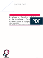 Europeana White Paper 1 - Knowledge = Information in Context