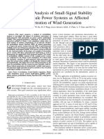 Probabilistic Analysis of Small-Signal Stability of Large-Scale Power Systems as Affected by Penetration of Wind Generation