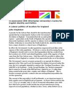Julia Stapleton A Labour English politics of localism