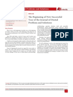 The Beginning of New Successful Year of the Journal of Dental Problem and Solutions