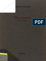 Jacques Derrida, Demeure. Maurice Blanchot.