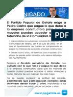El PP de Getafe exige a Pedro Castro que pague lo que debe para que los mayores puedan acceder a los pisos tutelados construidos por la CAM