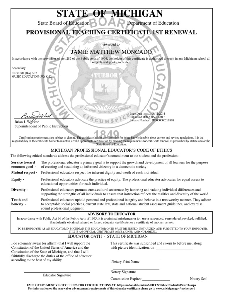 Michigan Certificate Notary Public Virtue
