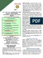 Moraga Rotary Newsletter - Mar. 29, 2016