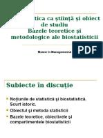 1.Biostatistica CA Stiinta Si Obiect de Studiu.bazele Teoretice Si Metodologice Ale Biostatisticii.