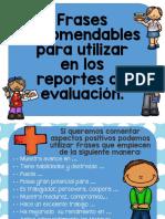 Frases Recomendables Para Utilizar en Los Reportes de Evaluación