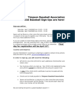 Timpson Baseball Association2016 Sign Up Letter