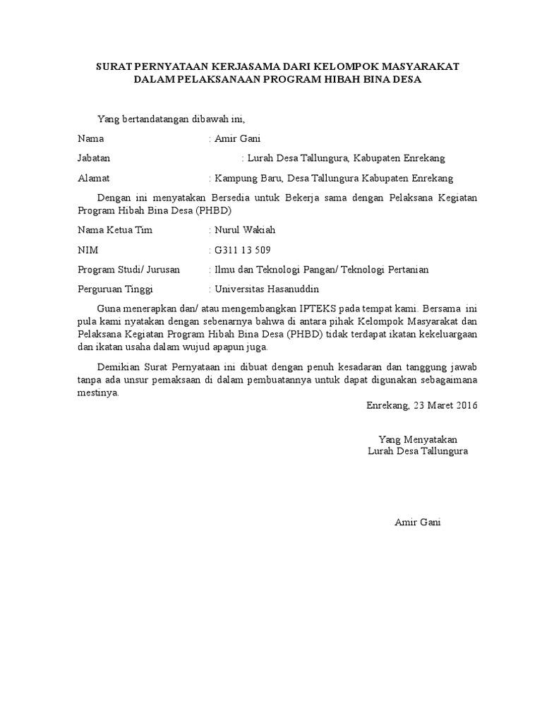 Surat Pernyataan Kerjasama Dari Kelompok Masyarakat