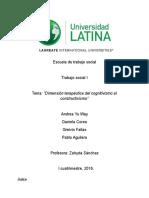 Dimension Terapeutica Del Cognitivismo Al Constructivismo