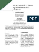 Pre-Informe de Perdidas y Corriente en Vacio Sin Carga.