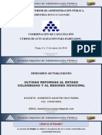 Estructura Del Estado, Reformas Al Estado y Al Regimen Municipal.