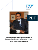 SAP Africa announces the appointment of Lawrence Kandaswami as Managing Director  of its South African business.
