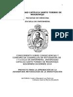 CONOCIMIENTO SOBRE CONSECUENCIAS Y CONSUMO DE CIGARRILLOS EN ESTUDIANTES DE   I Y II CICLO DE ENFERMERÍA. UNIVERSIDAD CATÓLICA SANTO TORIBIO DE MOGROVEJO. NOVIEMBRE-DICIEMBRE 2015