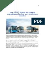 -ByD y GAC Forman Una Empresa Conjunta Para Fabricar Nuevos Autobuses Eléctricos