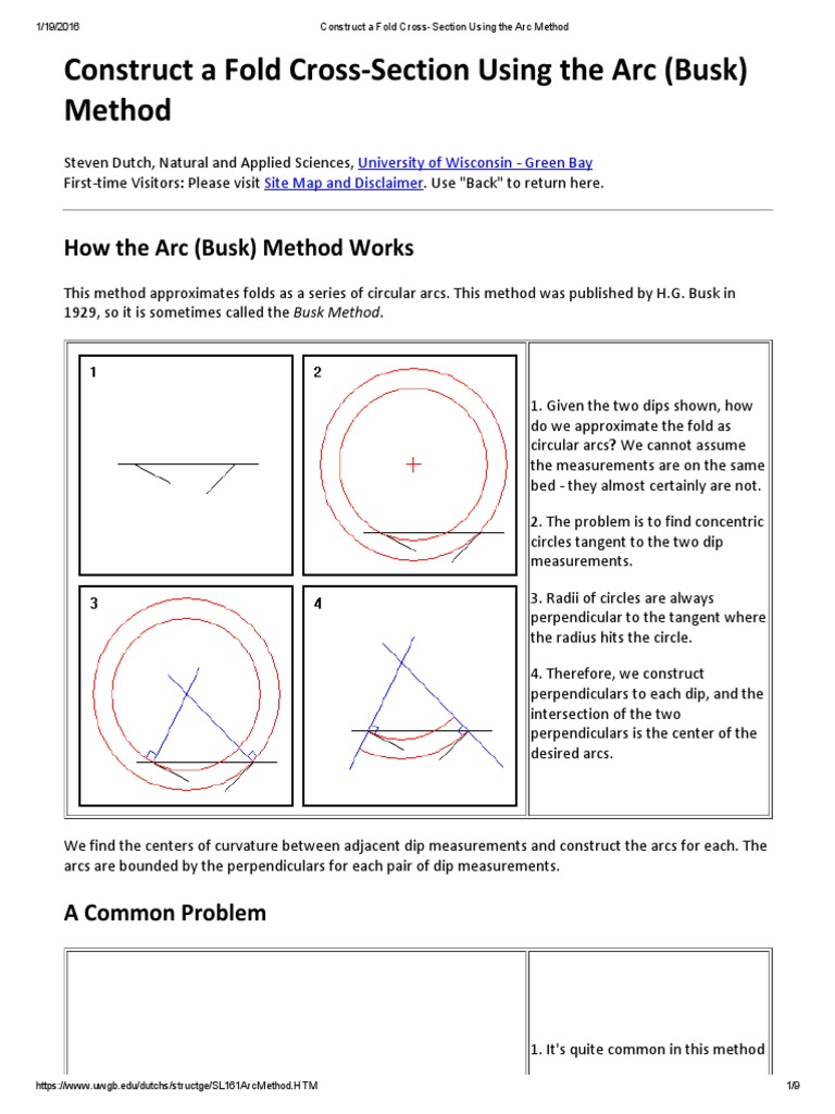 Construct a Fold Cross-Section Using the Arc Method | Perpendicular | Circle