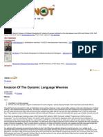 Invasion of the Dynamic Language Weenies