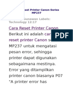 Cara Reset Printer Canon Series MP237