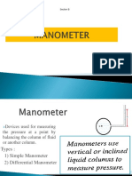 Manometer pressure measurement