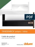 Lista de Pret Blum Tandembox Antaro Si Intivo - 2014 - Accesorii Mobila Roxy Mob