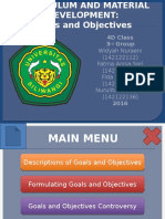 Curriculum and Material Development - Goals and Objectives