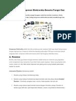 Jenis-Jenis Komponen Elektronika Beserta Fungsi Dan Gambarnya