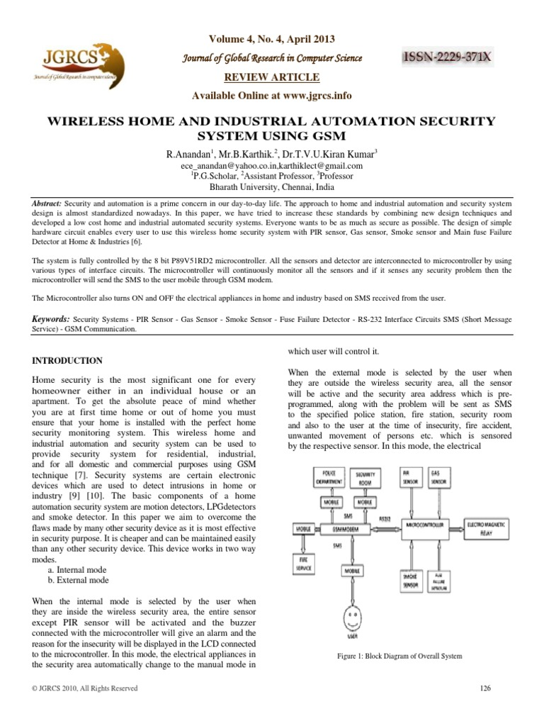 Wireless Home And Industrial Automation Security System Using Gsm Pirsensorinterfacecircuitdiagram 126 132 Alarm Infrared