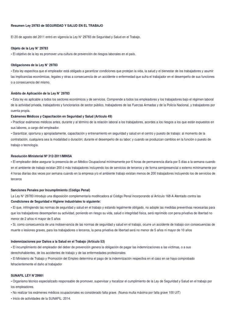 Resumen Ley 29783 de Seguridad y Salud en El Trabajo cargado por ...