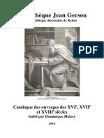 Bibliothèque Jean Gerson Bibliothèque diocésaine de Reims - Catalogue Des Ouvrages XVIe
