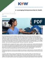 28. Knowledge.wharton.upenn.edu-World Health Partners Leveraging Entrepreneurship for Health Care Delivery